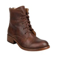 CHARRLES BROWN LEATHER women's bootie mid lace up - Steve Madden