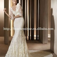 charming lace long sleeve elie saab style wedding dress