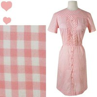 Vintage 50s 60s PINK GINGHAM Rockabilly Pinup DRESS L Shirtdress MAD MEN Sheath