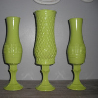 3 upcycled Lime green vases ... pedestal vases Wedding ... Party ... Display
