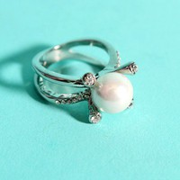 Silver Pearl Four Pronged Rhinestone Decor Ring @ Amiclubwear Ring Online Store,bridal rings,diamond ring,gold wedding band,bridal jewelry,jewellery rings,sterling silver ring,womens diamond ring,platinum wedding ring,diamond engagement ring,pearl ring
