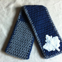 Oh Canada  Navy and Grey Scarf With Maple by HookinItbyBellaBeanz