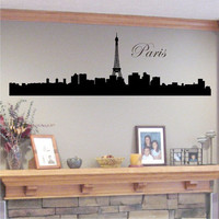 Paris Skyline Silhouette with Eiffel Tower  Vinyl Wall Art Decal