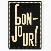 Bonjour black Extra Large illustration print 1650 x by edubarba