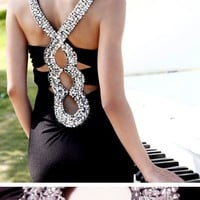 Sequins deepV black long evening dress  from Girlfirend