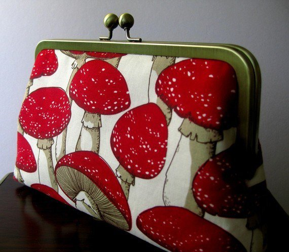 Forest Mushrooms Silk Lining Clutch Bag Handmade in by BagNoir