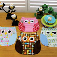 Owl Place Mats, Pattern, Who&#x27;s Place,by Susie C Shore Designs