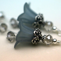 2 Piece Frosted Gray Lucite Flower with Gray Mirror Crystal Rondelles and Antiqued Silver Bead Drop Dangle Set