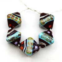 Handmade lampwork glass beads Orient Blue and rust by MayaHoney