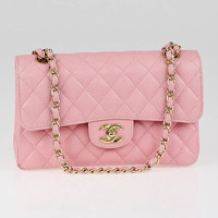 Chanel Pink Quilted Cavi...