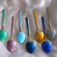 ENAMEL &amp; GUILDED Multi Color SHELL Design Demitasse Spoon set of 7 by THUNE Norway