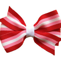 Pink, red & white striped hair bow - Valentines hair bow