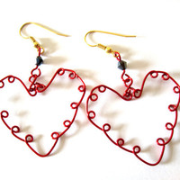 Red Valentine &quot;Sweetheart&quot; Handcrafted Wire Earrings Valentine&#x27;s Day Gift