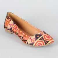 Qupid Tessa-200 Tribal Print Ballet Flat