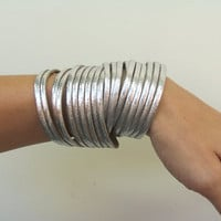Silver Double Wrap CuffBracelet by Justlena on Etsy