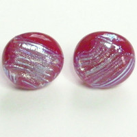 Red Fused Glass Post Earrings and backs