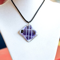 fish Fused glass pendant necklace purple by eyeseesage on Etsy