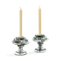 Venice Silver Candle Holders - Set of 2