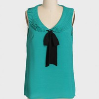 ladies luncheon blouse in teal at ShopRuche.com