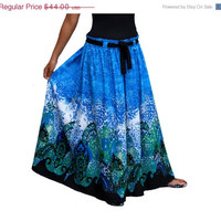 ON SALE Spring Fashion Skirt / Long Maxi Skirt in Blue, Black, Green and White with Sash Belt  / Ready to Ship