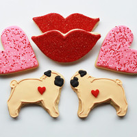 Pugs &amp; Kisses Valentine Gift Box - 6 Cookies - MADE TO ORDER