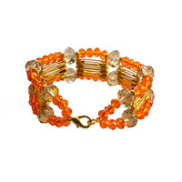 Safety pins  bracelet  Cuff golden with tangerine and grey crystal beads - one of a kind