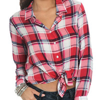 Plaid Tie Front Shirt | Shop Just Arrived at Wet Seal