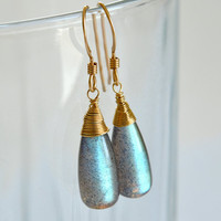 Labradorite Drop  Earrings by luxurybyvera on Etsy