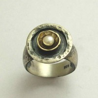 Pearl ring Sterling silver and yellow gold ring A by artisanlook