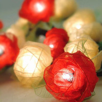 Bloomination Rose Red &amp; Gold Leaf Lights - Unique Vintage - Cocktail, Evening &amp; Pinup Dresses