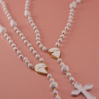 WHITE FRIENDSHIP ROSARY NECKLACE at Wildfox Couture in  - WHITE MATTE