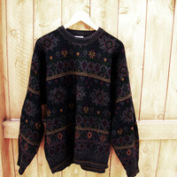 vintage oversized grandpa sweater. tribal pattern slouchy sweater. size L to XL. made in Italy. Giorgio
