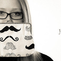 Cotton fabric,  clutch, moustache design, purse, graduation, wedding, bridesmaid, handbag, christmas, women, fashion