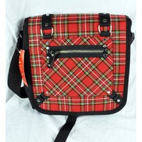 Amazon.com: RED Plaid Messenger BAG Punk Rock School Rockabilly 80s: Everything Else