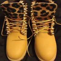 Spiked &amp; Leopard Timberlands
