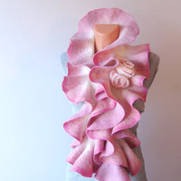 Felted scarf ruffle collar Pink Rose by galafilc on Etsy