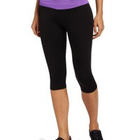 Calvin Klein Performance Women's Crop Running Tight Legging, Black/Elderberry, Small