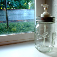 Pint Soap or Lotion Dispenser Ball Mason Jar by CreativeCorksNMore