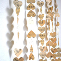 Vintage Music Hearts Garland - 8' long