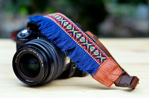 Blue Bohemian Camera Strap for DSLR / SLR Quick Release by iMoShop