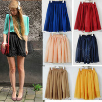 Women's Retro High Waist Pleated Double Layer Chiffon Short Mini Skirts Dress