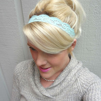 Pale aqua stretch lace headband  by VintageBowBoutique on Etsy