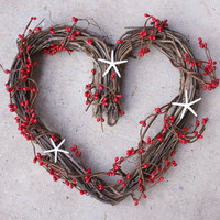 Valentine wreath, heart wreath, Valentine&#x27;s day decoration, starfish wreath, red, white