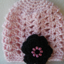 Soft Pink Baby Beanie with Black Flower