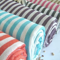 NATURAL Cotton Turkish Towel, Peshtemal, Bath and beauty, beach towel, hammam towel, bath towel, picnic towel, Spa Towel, Gray, Grey Striped