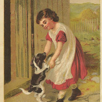 The First Lesson - Girl Dancing with her Puppy Original Color Print Litho Bookplate from 1881 Chatterbox Children's Book