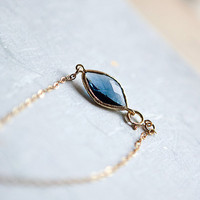 My Tiny Love 14k gold fill chain Bracelet with Blue by pardes