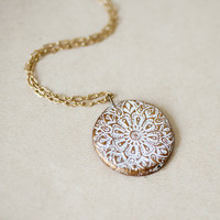 White Ornament oriental textures gold clay pendant by by pardes