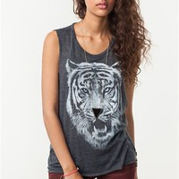 A'GACI Tiger Stamp Muscle Cut Tank - TOPS