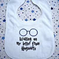 Harry Potter  &quot;Waiting on my letter to Hogwarts&quot; Baby Bib